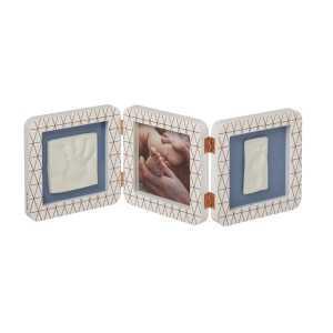 Baby Art – Отпечатък за ръчичка и краче – квадратен, бяла + декор рамка BA-00015