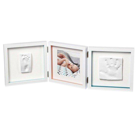 BABY ART Бяла рамка за отпечатък за ръчичка и краче + снимка My Baby Style Essentials (бяло паспарту)
