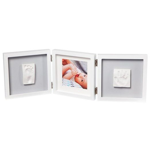 BABY ART Бяла рамка за отпечатък за ръчичка и краче + снимка My Baby Style Grey (сиво паспарту)