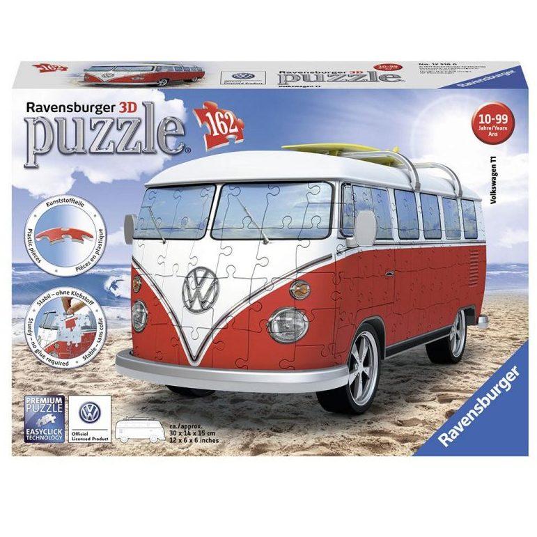 3D Пъзел Ravensburger 162 ел. – Ретро бус Volkswagen T1