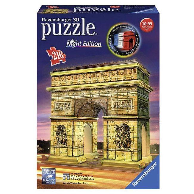 3D Пъзел Ravensburger 216 ел. – Триумфалната арка през нощта