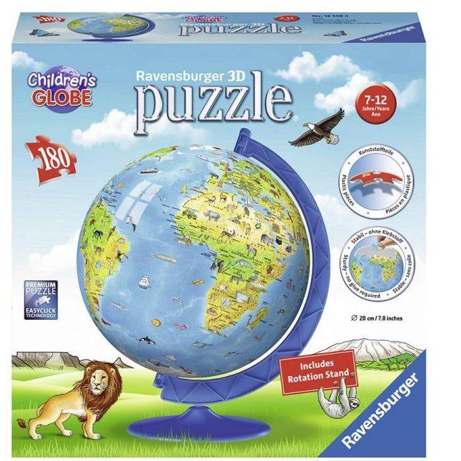 3D Пъзел Ravensburger 180 елемента – Глобус за деца
