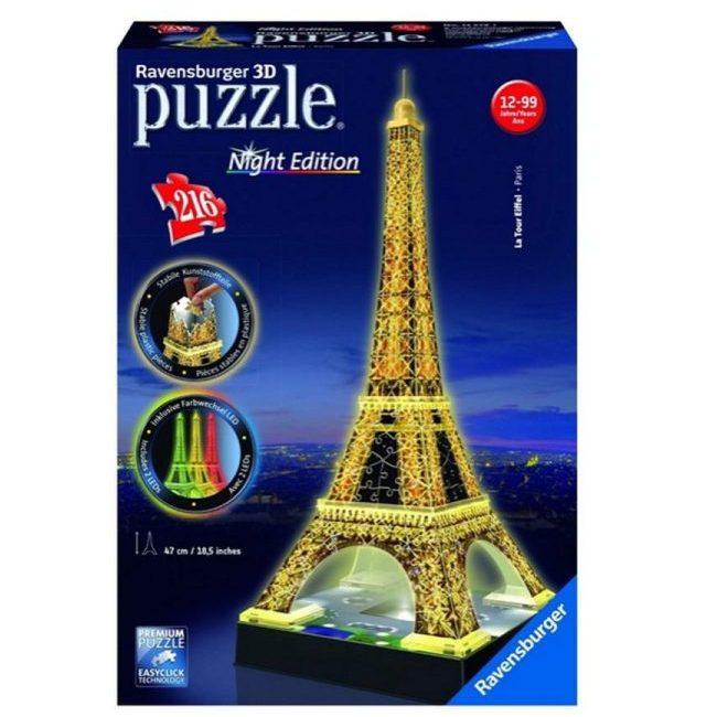 3D Пъзел Ravensburger светещ 216 ел. – Айфеловата кула Париж