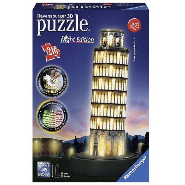 3D Пъзел Ravensburger 216 ел. – Наклонената кула в Пиза през нощта