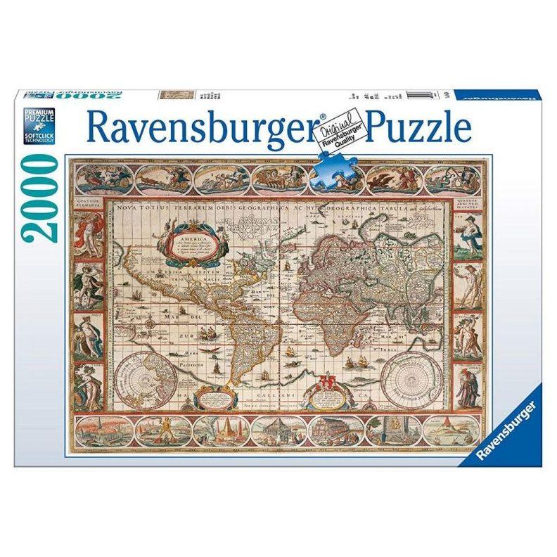 Пъзел Ravensburger 2000 ел. – Карта на света 1650 година