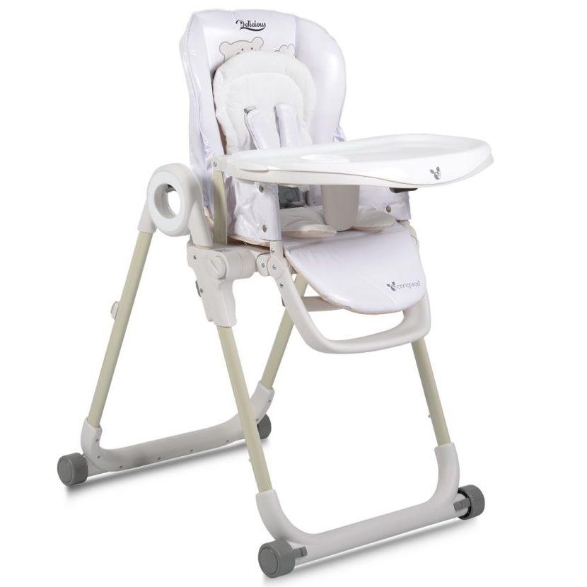 Детски стол за хранене Delicious с допълнителна подложка бял
