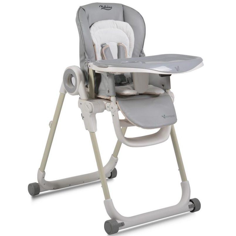Детски стол за хранене Delicious с допълнителна подложка сив