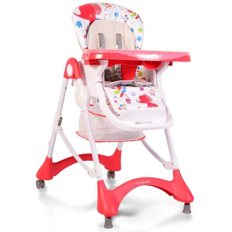 Детски стол за хранене Mint червен