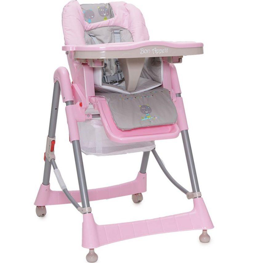 Детски стол за хранене Bon Appetit розов