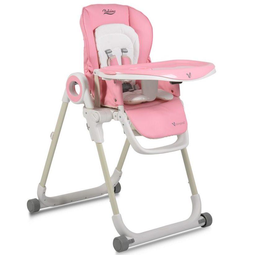 Детски стол за хранене Delicious с допълнителна подложка розов