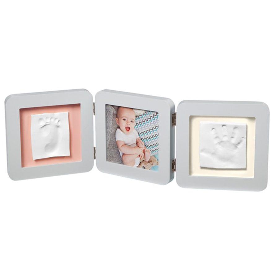 BABY ART Рамка за снимка и отпечатък на ръчичка и краче My Baby Touch, Пастелна (паспарту в 3 цвята)