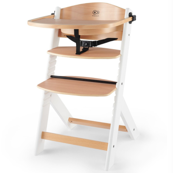 Столче за хранене KinderKraft ENOCK, Дървено/бели крака