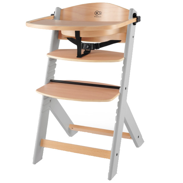 Столче за хранене KinderKraft ENOCK, Дървено/сиви крака