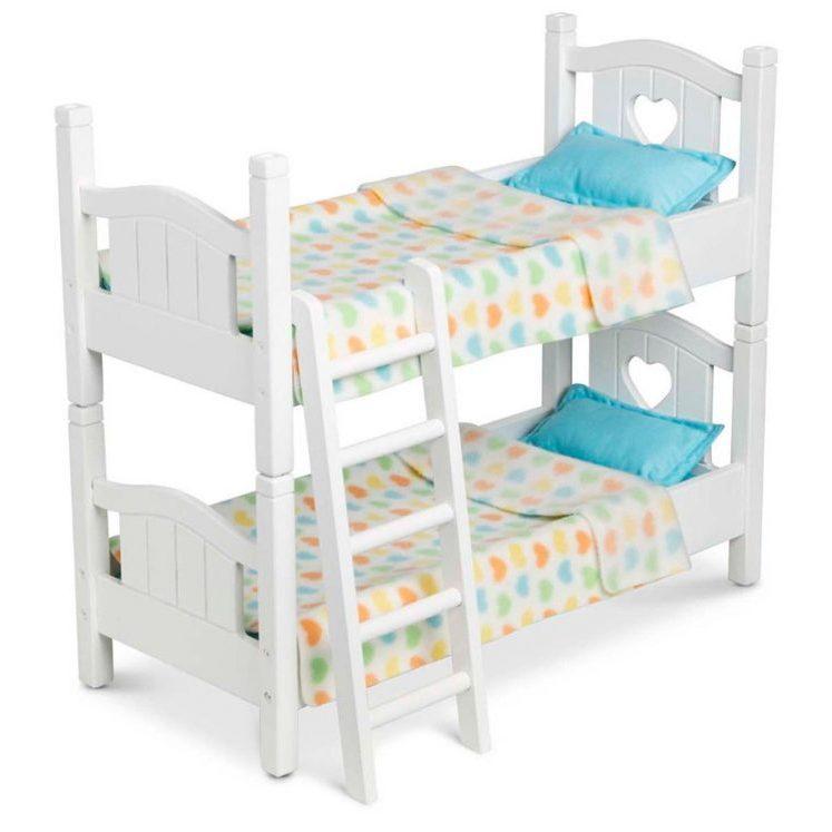 Дървено двуетажно легло Melissa&Doug за кукли бяло 41721