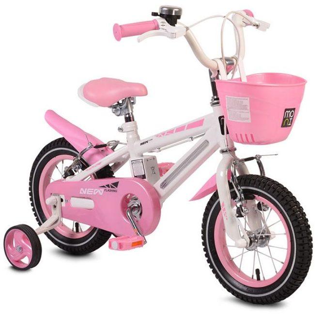 Детски велосипед 12″ със светеща рамка – 1290 розов