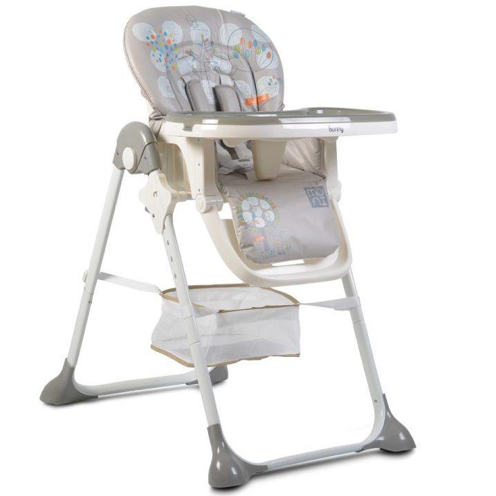 Детски стол за хранене Hunny сив