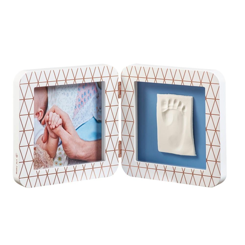 BABY ART Бяла рамка с декорация за отпечатък и снимка White Copper (паспарту в 4 цвята)