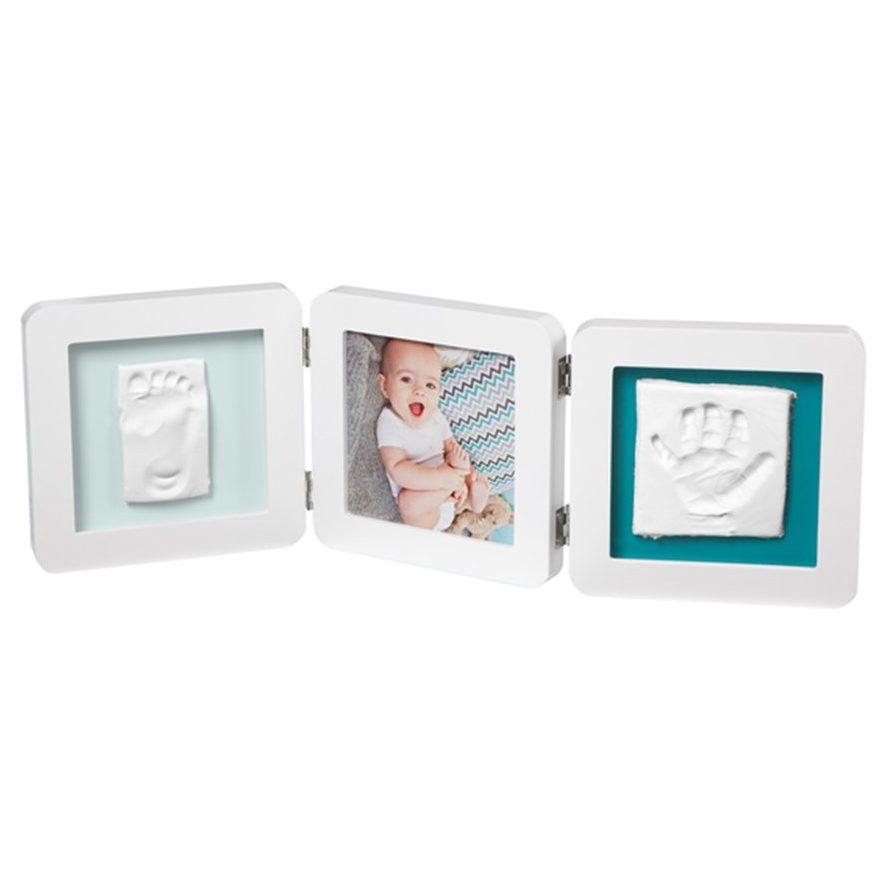 BABY ART Рамка за снимка и отпечатък на ръчичка и краче My Baby Touch, Бяла (паспарту в 4 цвята)