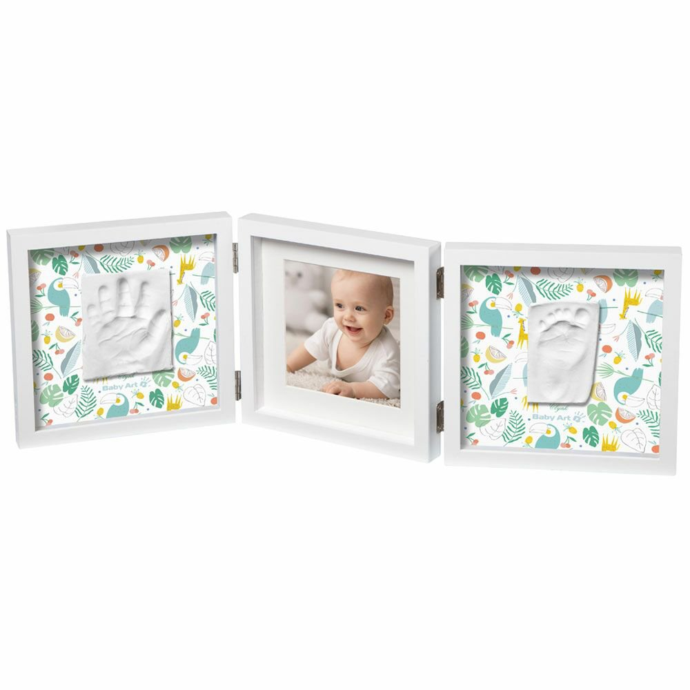 BABY ART Рамка за отпечатък за ръчичка и краче + снимка My Baby Style, Двулицево паспарту ЗАРЯ и ТУКАНИ