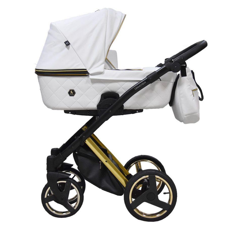 Бебешка количка Tutek DIAMOS   VX 3в1 White GOLD5 BLACK/GOLD ECO