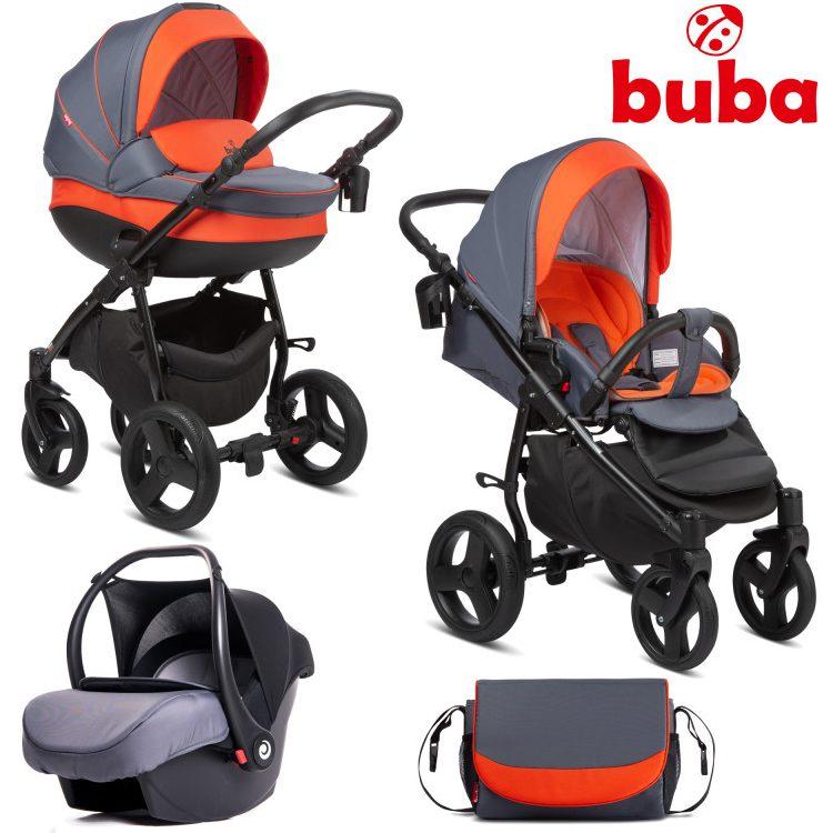 Бебешка количка 3в1 Buba Bella 713, Pewter-Orange