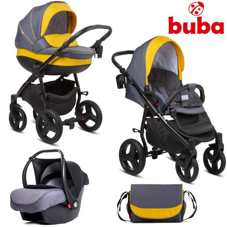 Бебешка количка 3в1 Buba Bella 716, Pewter-Yellow