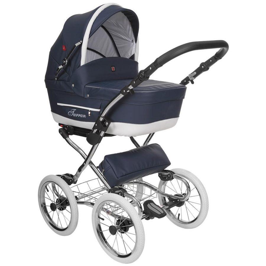 Бебешка количка Tutek TURRAN SILVER 3в1 BlueWhite ECO2B