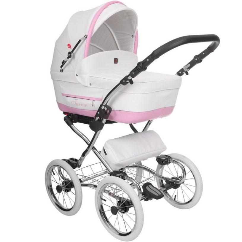 Бебешка количка Tutek TURRAN SILVER White/Pink TSECO WP/B 3в1