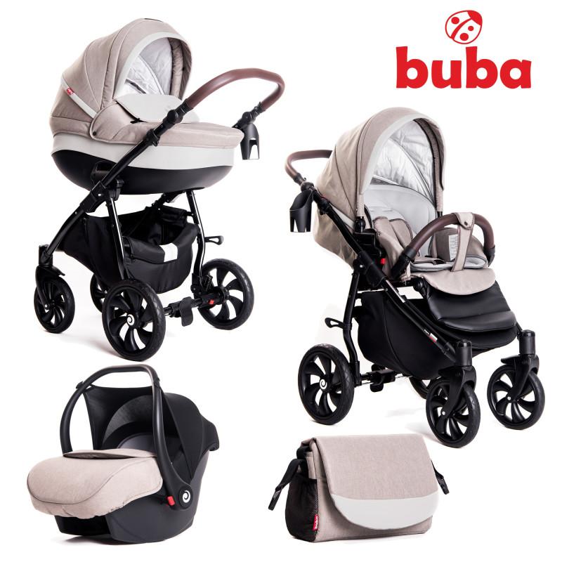 Бебешка количка Buba Estilo 919, 3 в 1, Светлосива