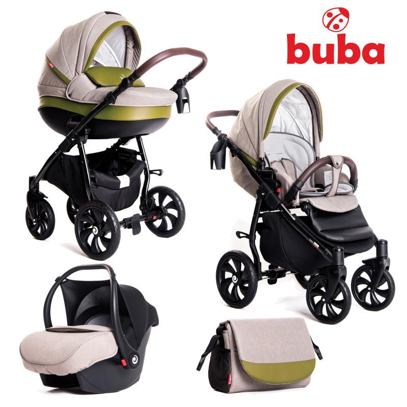 Бебешка количка Buba Estilo 924, 3 в 1, Зелена