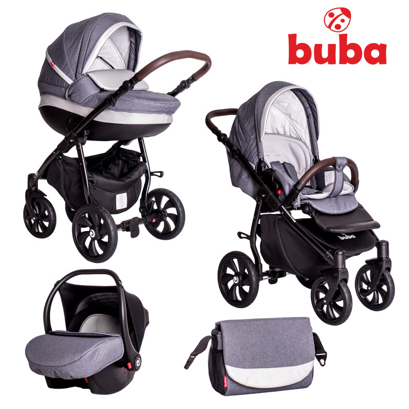 Бебешка количка Buba Estilo 930, 3 в 1, Тъмносива