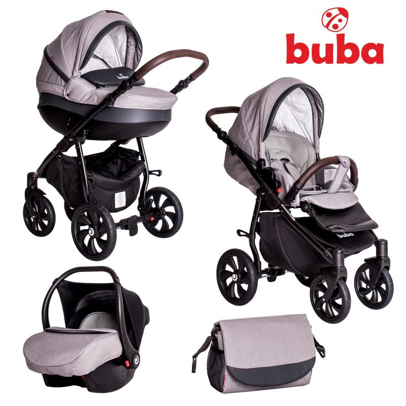 Бебешка количка Buba Estilo 932, 3 в 1, Черна/Светлосива