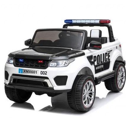 Двуместен акумулаторен джип Полиция с меки EVA гуми Бял