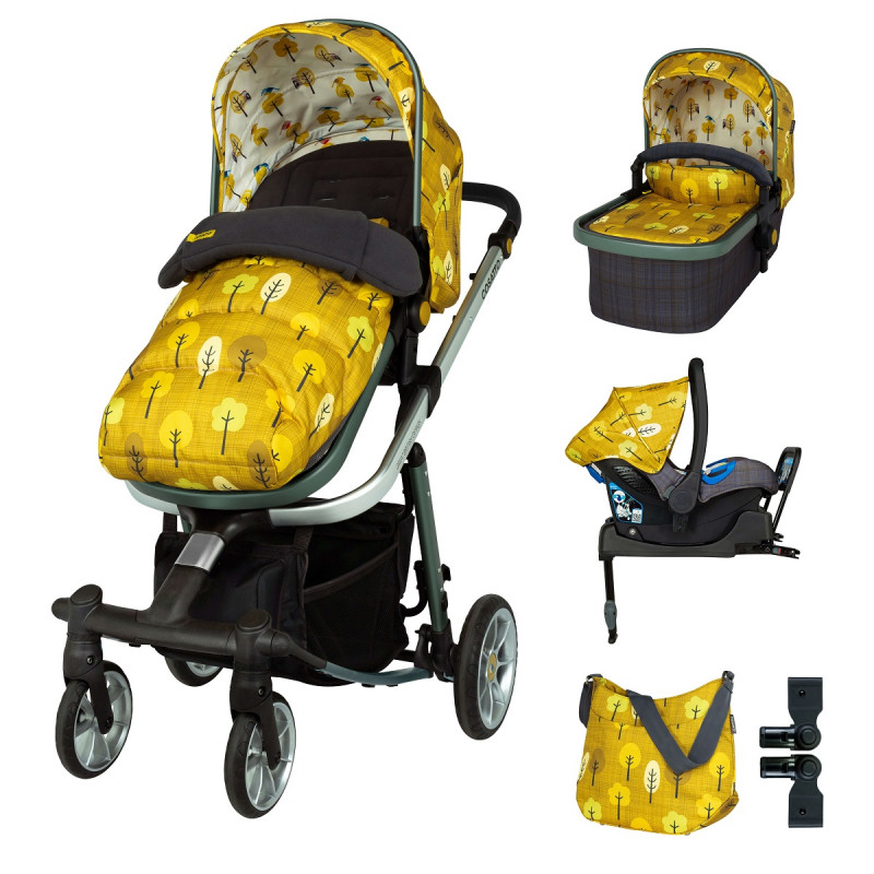 Комплект количка Cosatto Giggle Quad Spot the Birdie 5в1 + i-Size база и чувалче за крака