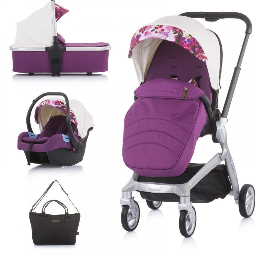 Бебешка количка Chipolino Emotion 3в1 бяла/цветя