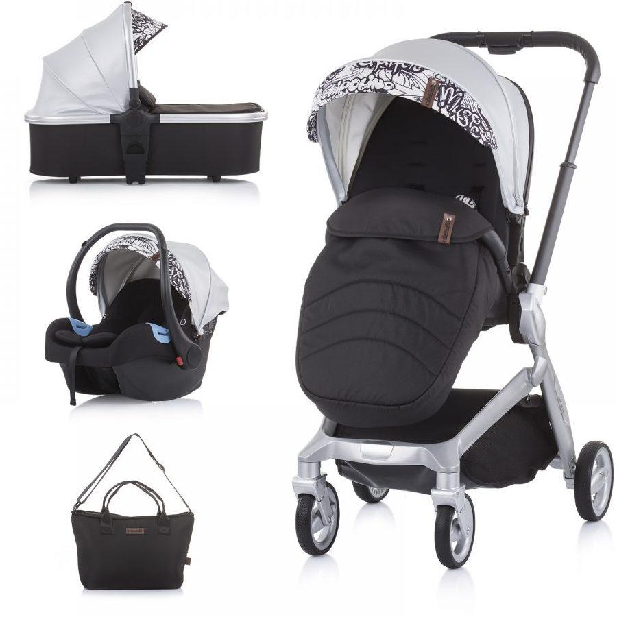 Бебешка количка Chipolino Emotion 3в1 сребро