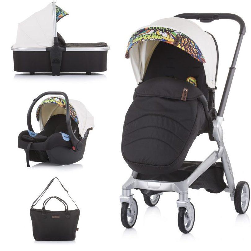 Бебешка количка Chipolino Emotion 3в1 бяла/графити