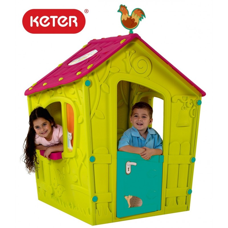 Пластмасова къща за игра Keter Magic Playhouse, Зелена/Синя/Розова