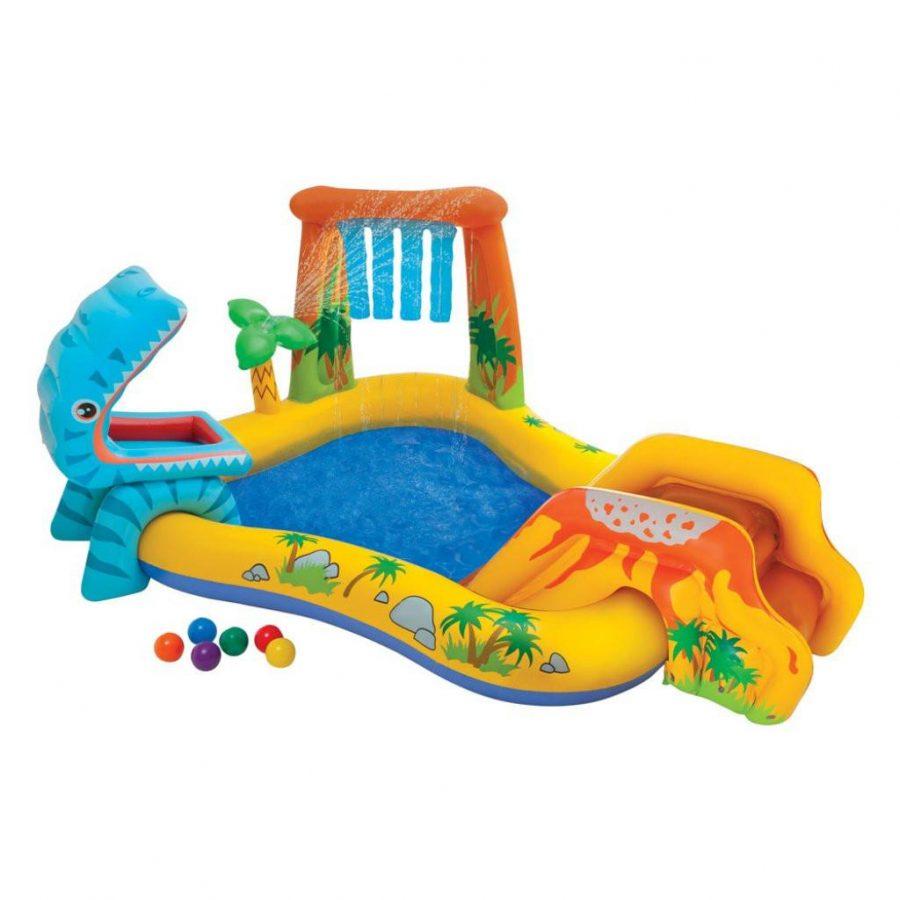 Надуваем център за игра с пързалка Дино INTEX Dinosaur