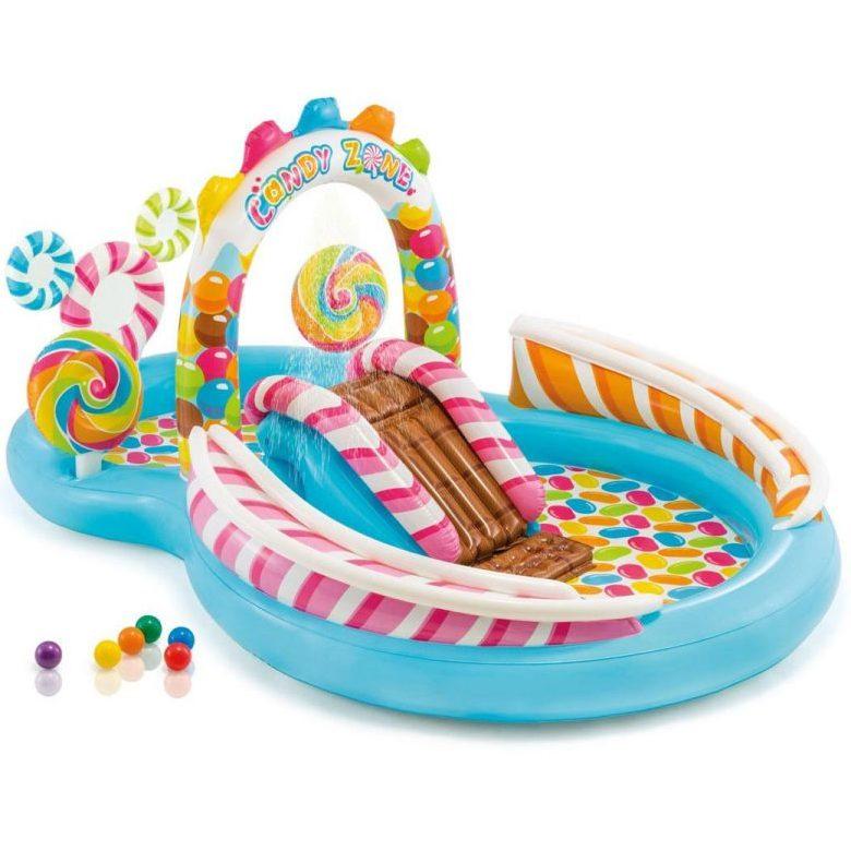 Надуваем център за игра с пързалка Бонбонландия INTEX