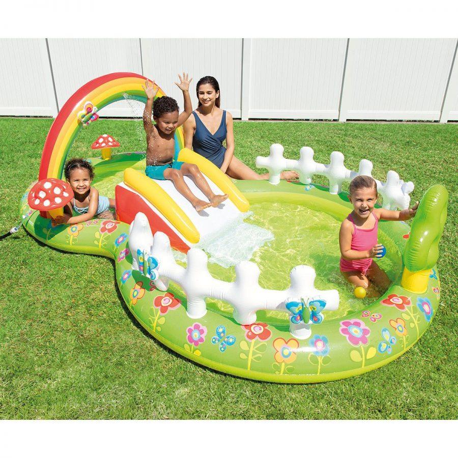 Надуваем център за игра с пързалка Моята градина INTEX