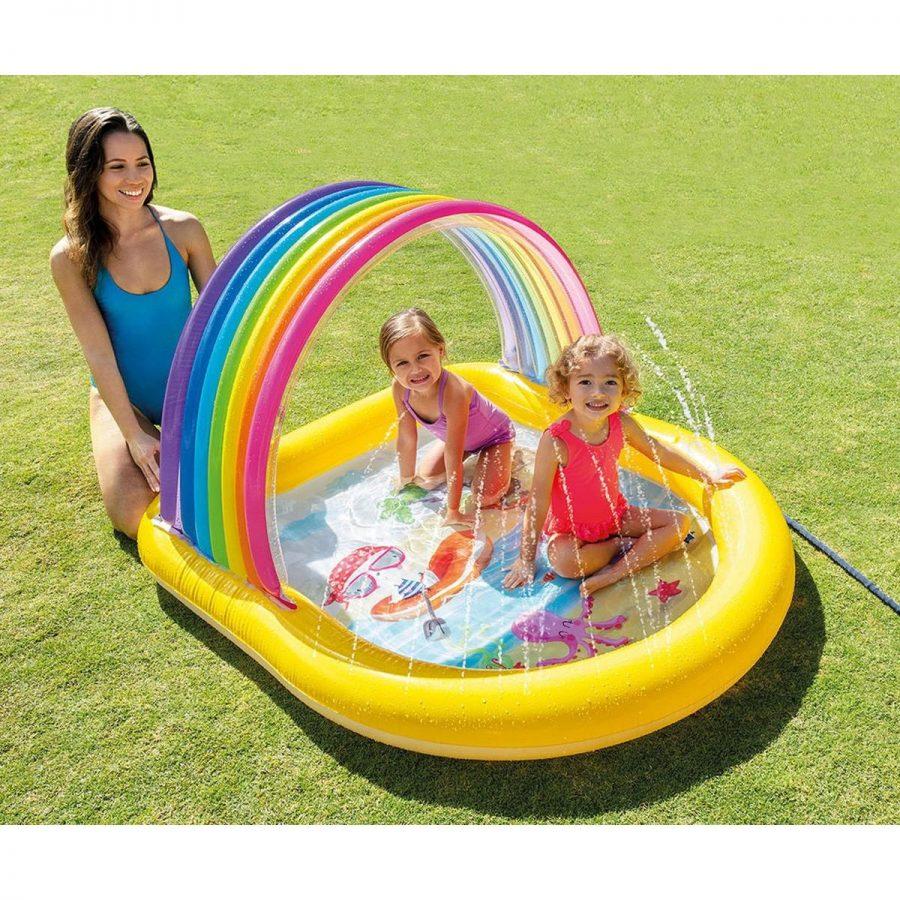 Детски надуваем басейн със сенник и пръскалка Дъга INTEX