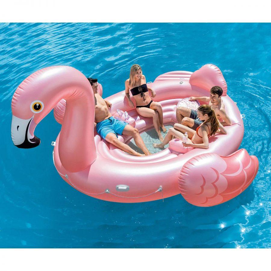 Надуваем парти остров Фламинго INTEX