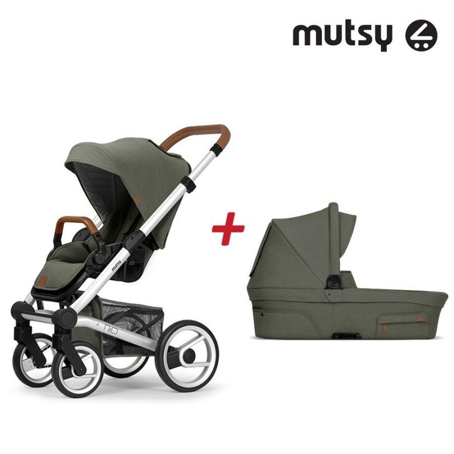 Пакет Шаси Mutsy Nio Standard + Кош за новородено и Седалка със сенник Mutsy Nio Adventure Sea Green