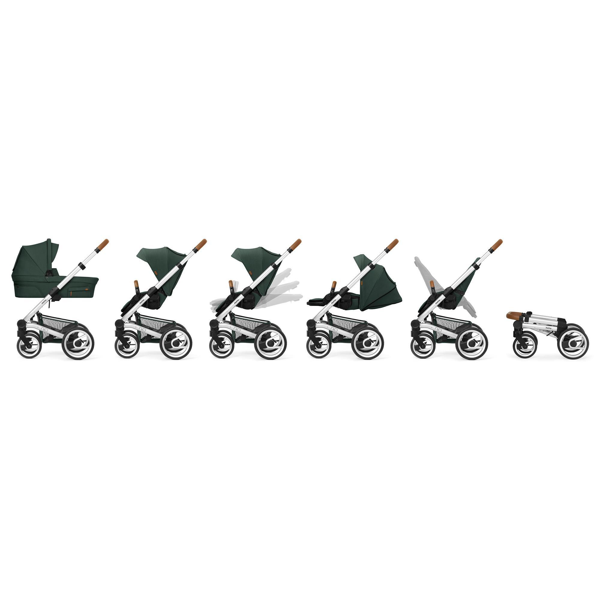Пакет Шаси Mutsy Nio Black + Кош за новородено и Седалка със сенник Mutsy Nio Adventure Sea Green