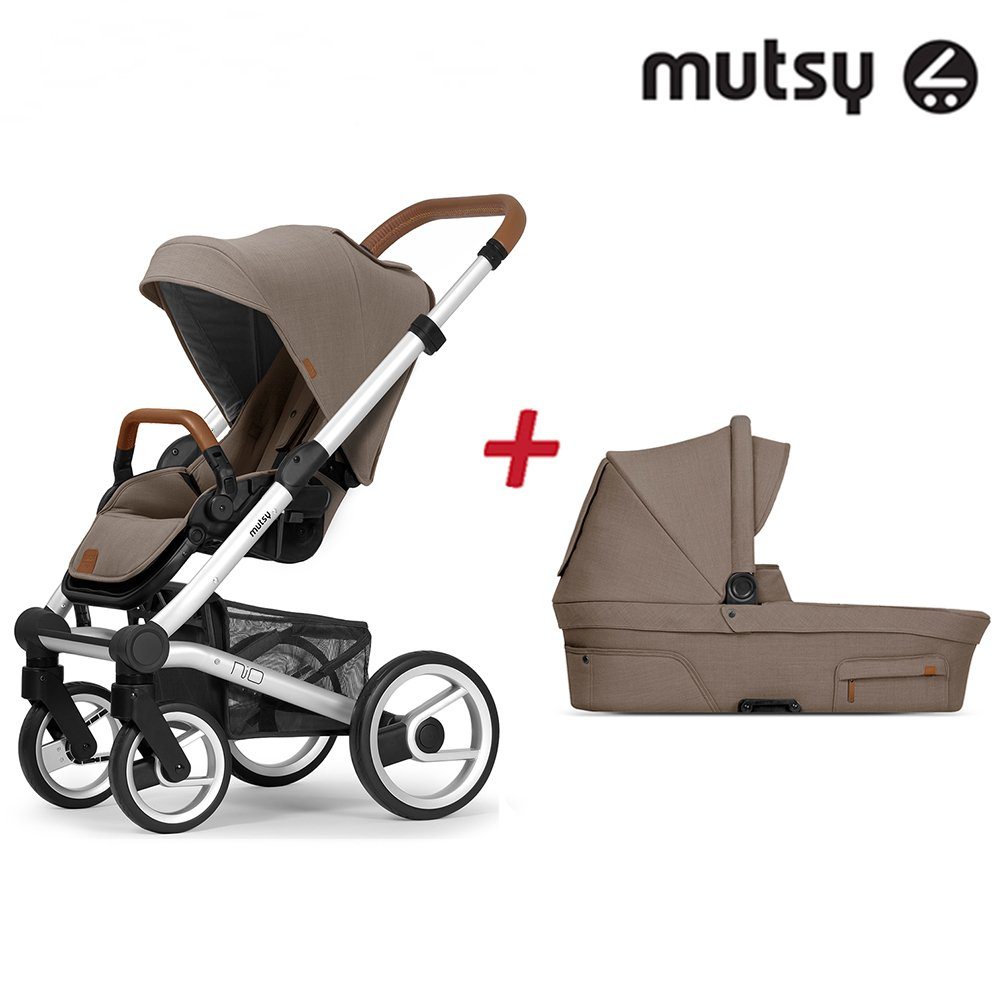 Пакет Шаси Mutsy Nio Standard + Кош за новородено и Седалка със сенник Mutsy Nio Adventure Dune Grey