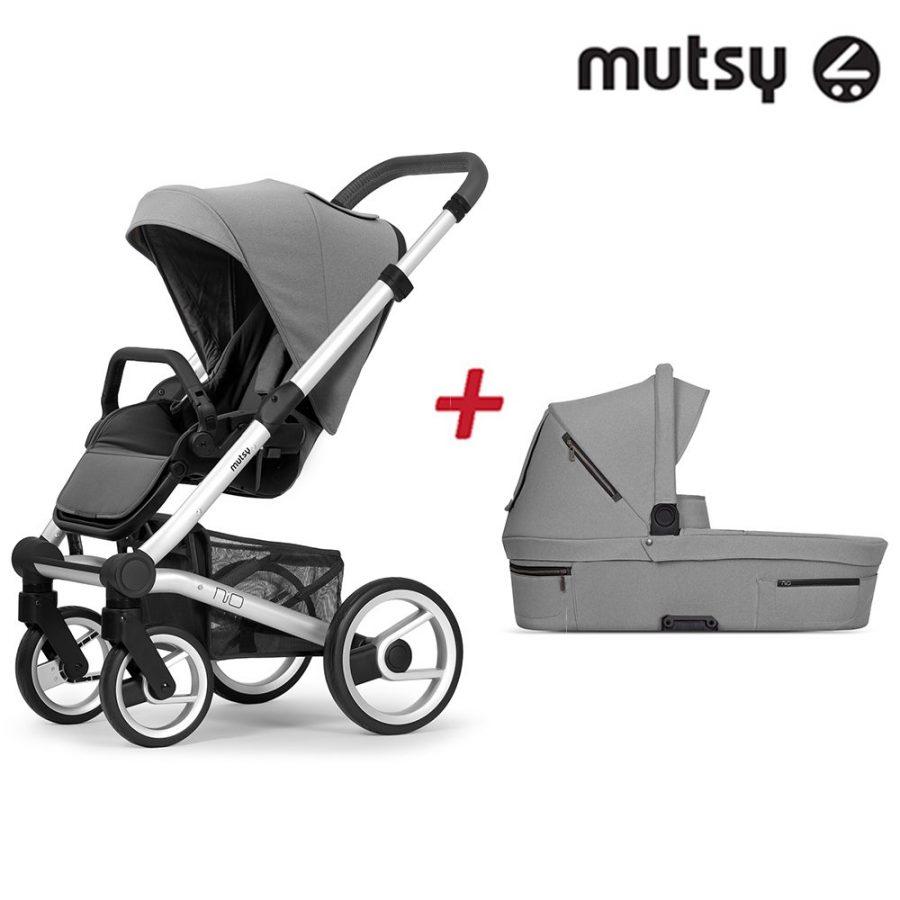 Пакет Шаси Mutsy Nio Standard + Кош за новородено и Седалка със сенник Mutsy Nio Journey Ice Grey