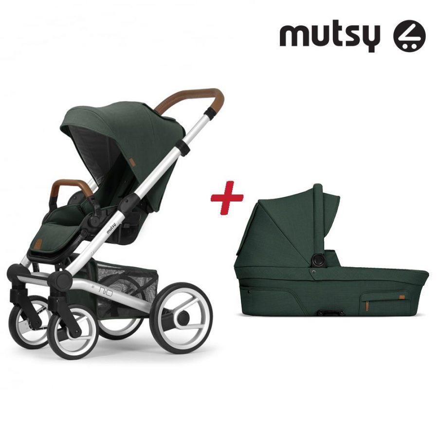 Пакет Шаси Mutsy Nio Standard + Кош за новородено и Седалка със сенник Mutsy Nio Adventure Pine Green