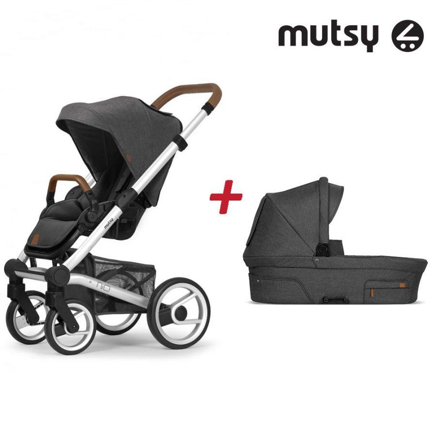 Пакет Шаси Mutsy Nio Standard + Кош за новородено и Седалка със сенник Mutsy Nio North Grey