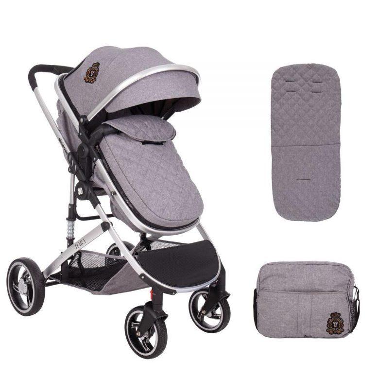 Кikka Boo Комбинирана бебешка количка 2в1 Tiara Grey